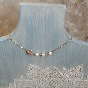 Jewelry - WILLOW Goldtone Dove Pearl Dainty Necklace
